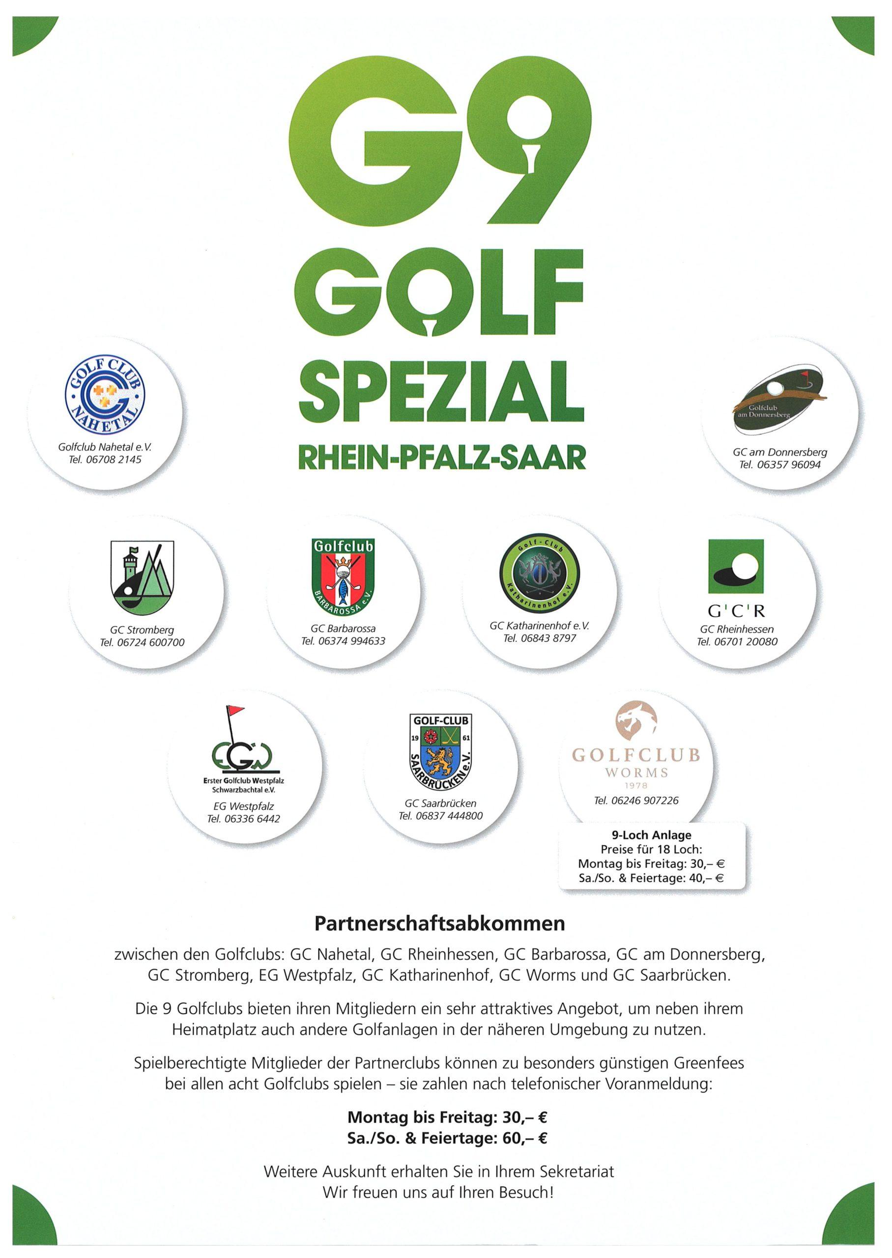 Golfclub Rheinhessen: G9 Golf Spezial Partnerschaftsabkommen 2020